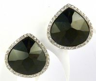 Large Black Teardrop And Rhinestone Clip On Earrings By Monet.